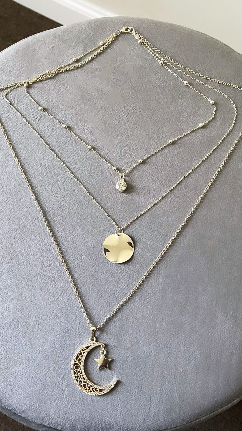 Crescent Moon Tiered Necklace