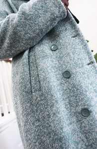 Creamy Mint Wool Blend Pointed Collar Coat