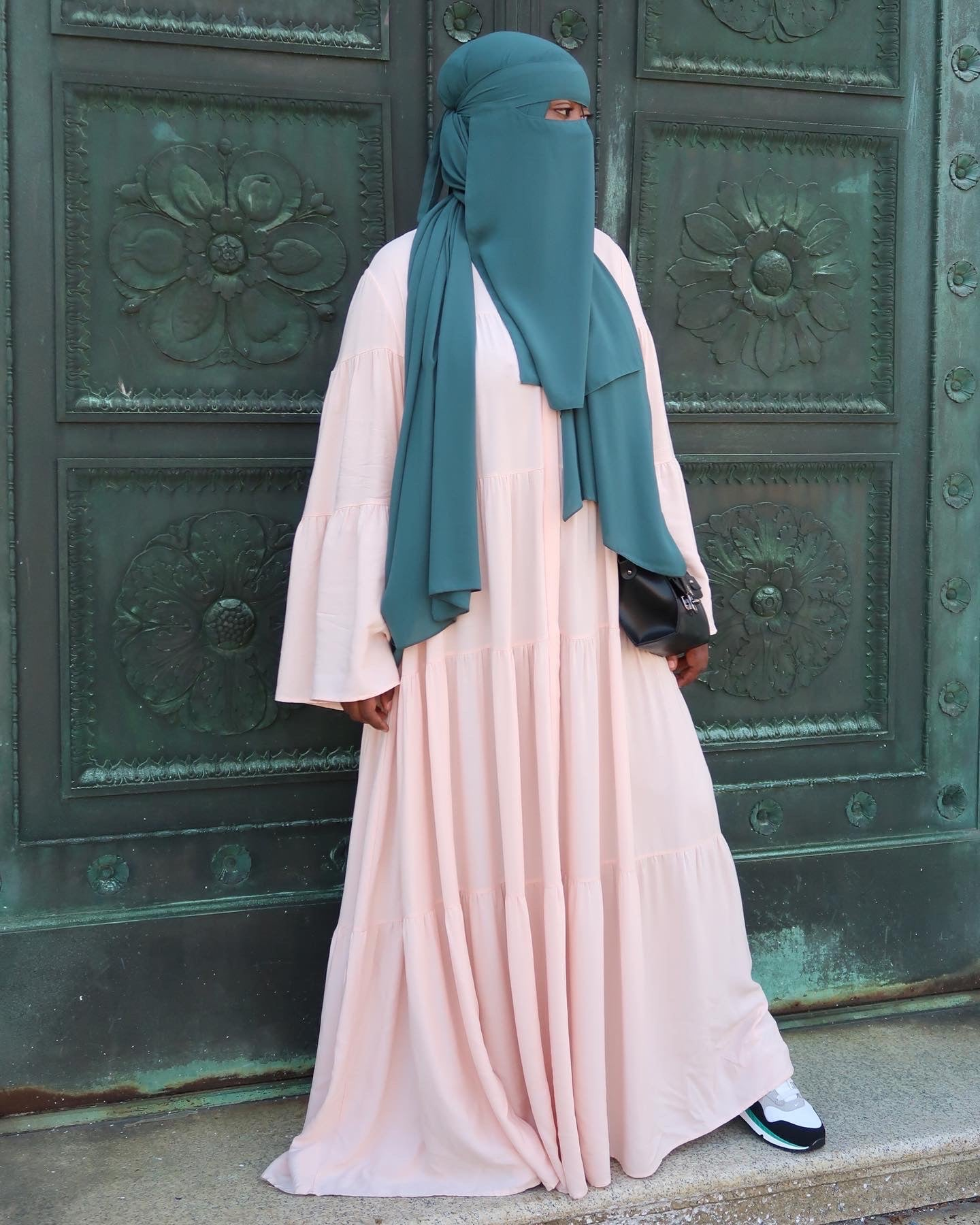 Powder Pink Hidden Button Tiered Maxi Dual Duster Dress