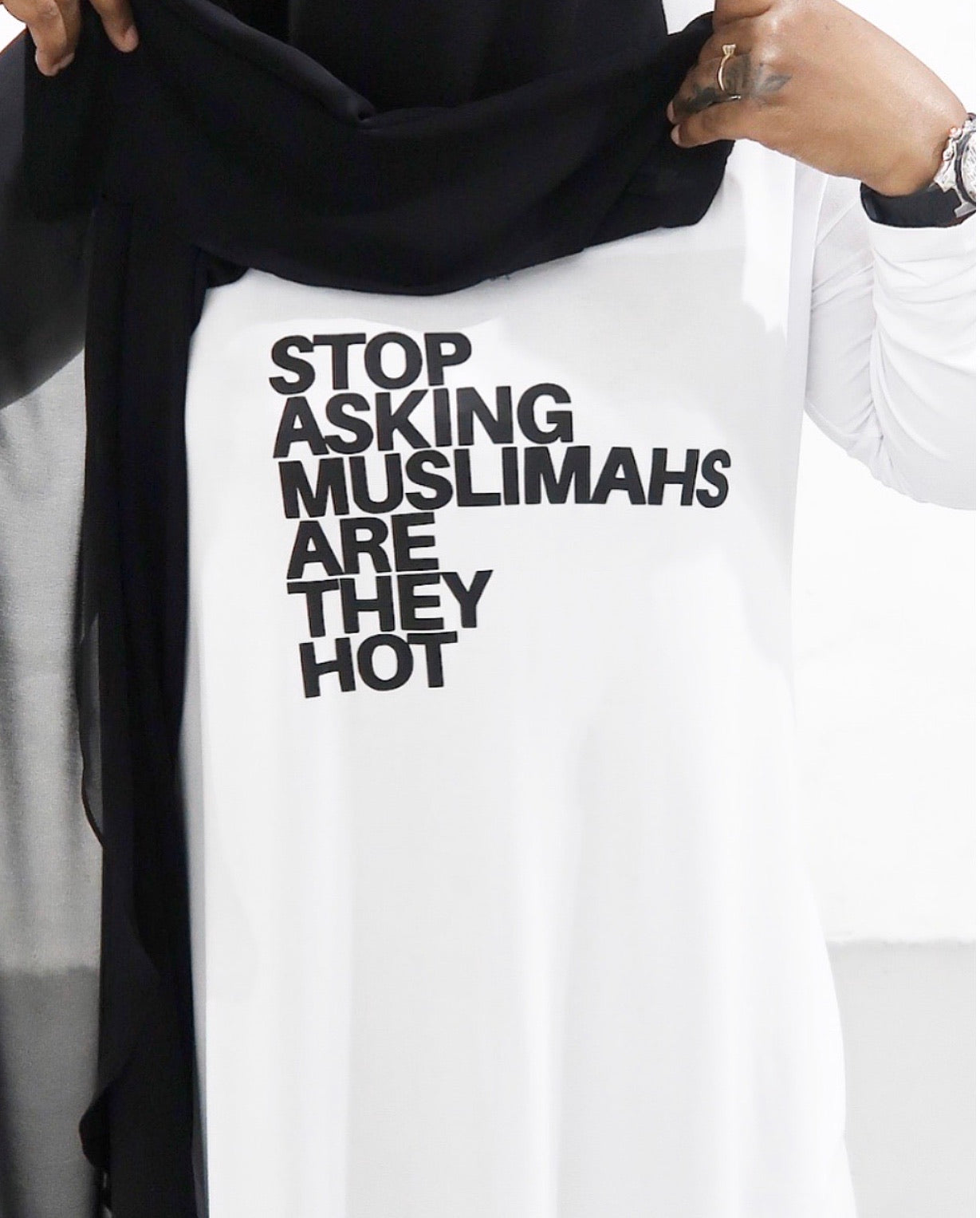 Stop Asking Muslimahs Long Graphic Tunic