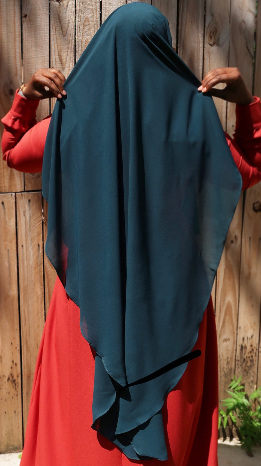Double Layer Rapunzel Niqab In Deep Teal
