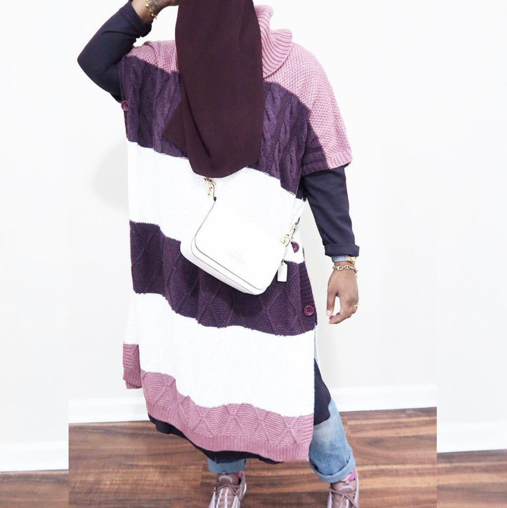 Lilac & Purple Sweater Poncho