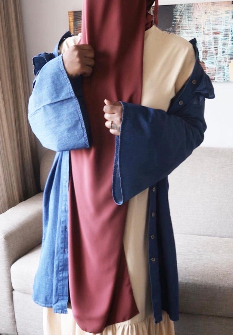 Denim Bell Sleeve Button Down Tunic Duster