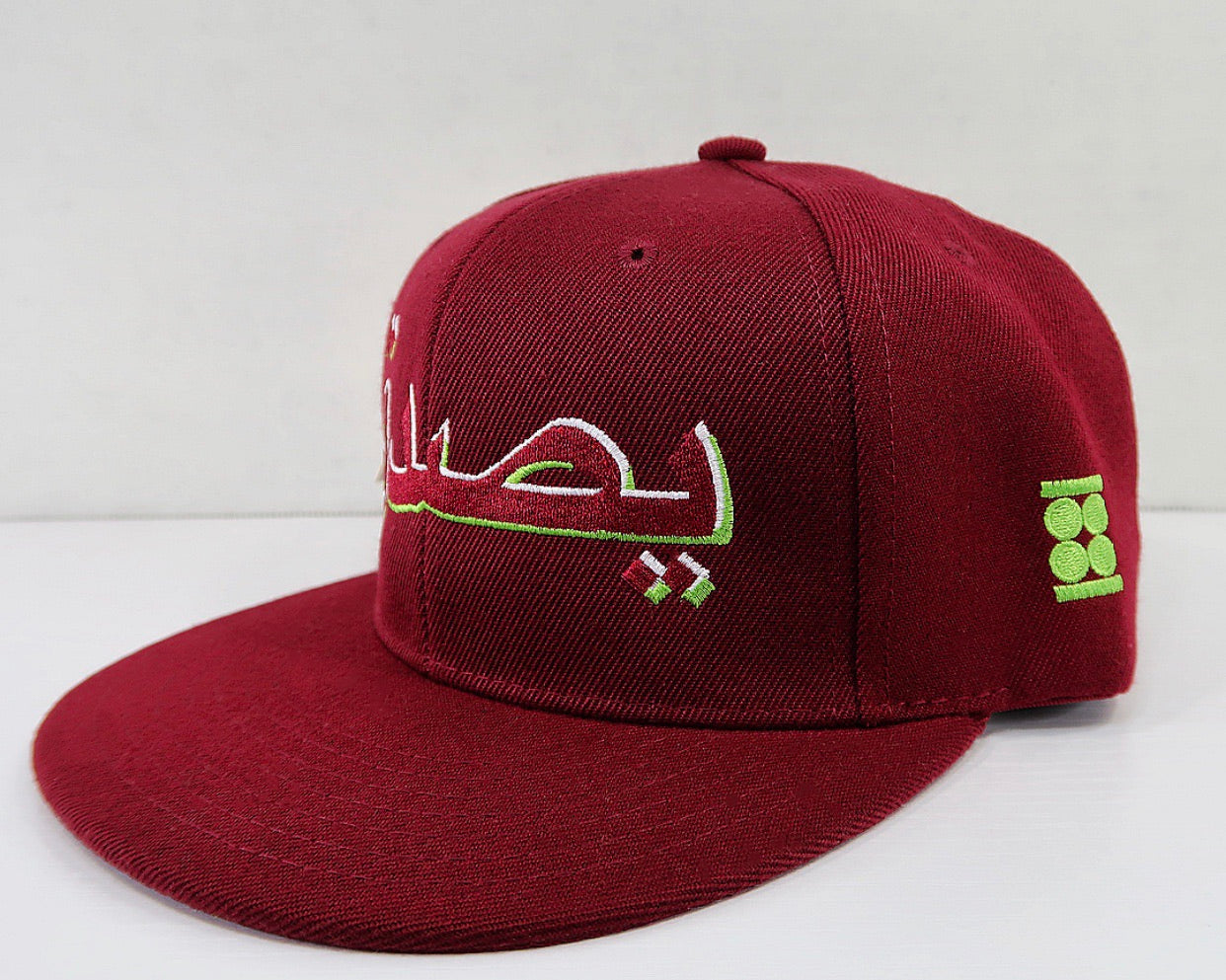 """Believe"" Graphic SnapBack Hat (BURGUNDY, WHITE & NEON GREEN)"