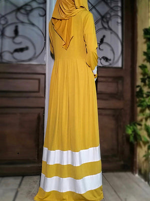 Yellow & White Color Block Dress