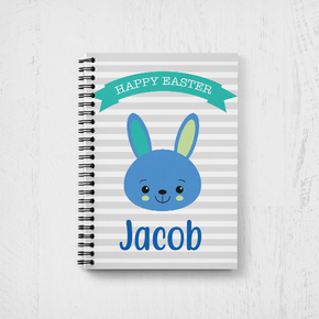 Bunny Rabbit Happy Easter Notebook Boys Blue Banner