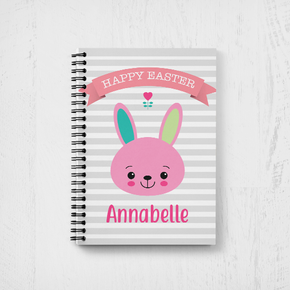 Bunny Rabbit Happy Easter Notebook Girls Pink Banner