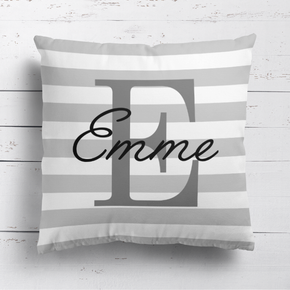 Grey Stripe Name & Initial Cushion