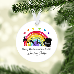 Personalised Rainbow Christmas Tree Decoration Sleigh