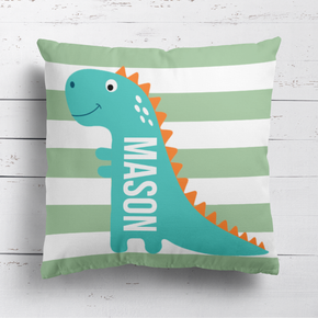 Dinosaur Green Stripes Cushion