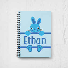 Bunny Rabbit Happy Easter Notebook Boys Blue Bunny