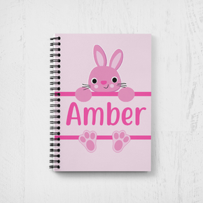 Bunny Rabbit Happy Easter Notebook Girls Pink Bunny