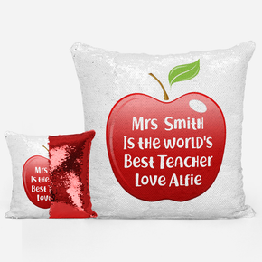 Apple Teacher Sequin Mermaid Cushion
