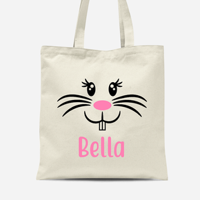 Easter Bunny Rabbit Face Girls Canvas Bag