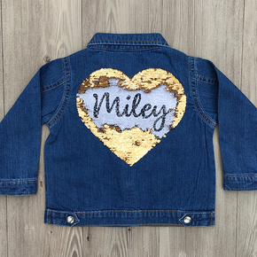 Personalised Baby Denim Jacket Love Heart Sequin