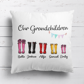 Personalised Our Grandchildren Welly Wellies Cushion