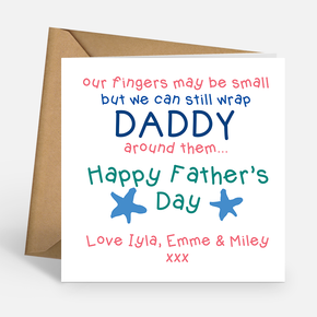 Daddy Father's Day Card - Our fingers may be small