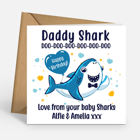 Daddy Shark Personalised Birthday Card