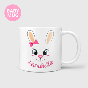 Easter Bunny Face Kids Baby Girls Bow Mug