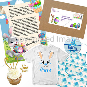 Personalised Parcel Letter From The Easter Bunny, T-Shirt, Cupcake, Badge & Apron