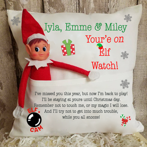 Personalised Elf On The Shelf Christmas Cushion BLACK FRIDAY
