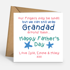 Grandad Father's Day Card - Our fingers may be small