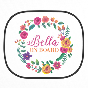 Personalised Floral Wreath Car Shade