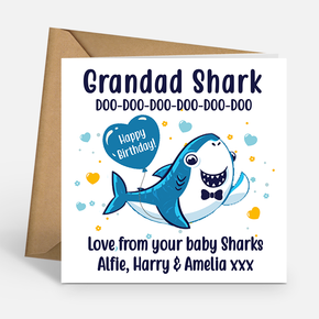 Grandad Shark Personalised Birthday Card