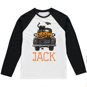 Personalised Halloween Pumpkin Truck Long Sleeve T-shirt