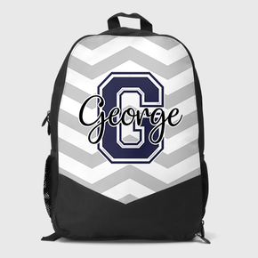 Grey Stripes Name & Initial Backpack