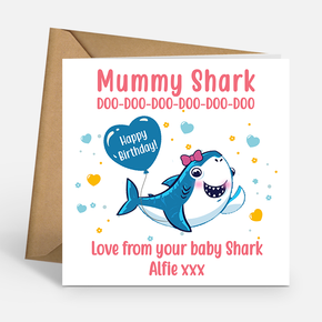 Mummy Shark Personalised Birthday Card
