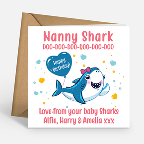 Nanny Shark Personalised Birthday Card