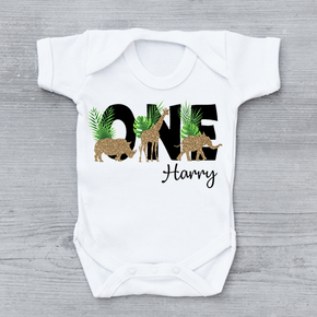 Safari Glitter Animals Birthday One Vest