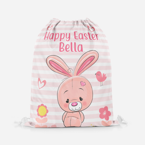 Happy Easter Pink Bunny Drawstring Bag