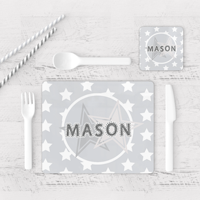 Grey Star Placemat & Coaster