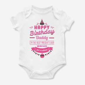 Personalised Happy Daddy Birthday  Baby Kids Present Grow Body Suit Vest Girl