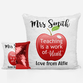 Apple Heart Teacher Sequin Mermaid Cushion