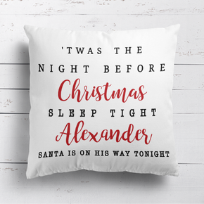 Personalised Christmas Eve Cushion Twas the night before Christmas