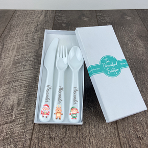 Personalised Kids Christmas Santa Cutlery Set
