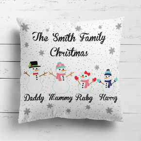Snowman Family Cushion