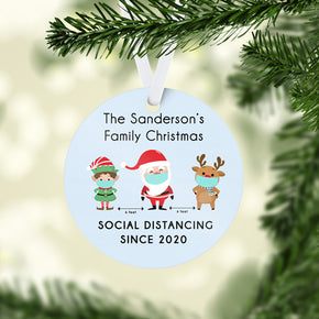 Social Distancing Covid Personalised Christmas Tree Decoration