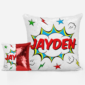 Superhero Boys Sequin Mermaid Cushion