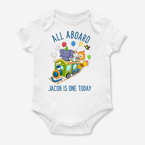First Birthday Train Bodysuit