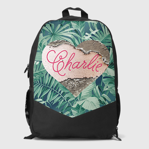 Sequin Heart Large Backpack Limited Edition Tropical Palm Leaves