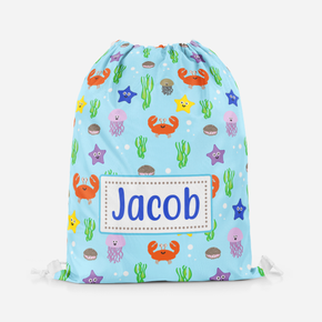 Personalised Under The Sea Baby Blue Swimming Pe Bag