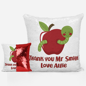 Worm Apple Teacher Sequin Mermaid Cushion