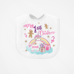 My First Christmas Unicorn Bib