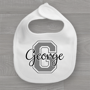 Personalised Name & Grey Initial Baby Bib