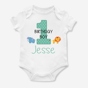 Safari Animals First Birthday Boy Bodysuit