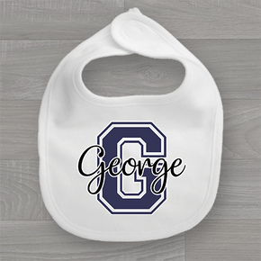 Personalised Name & Navy Initial Baby Bib